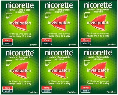 6 x 7 Pack Nicorette Invisipatch 15mg (STEP 2) | Total 42 INVISI Patches