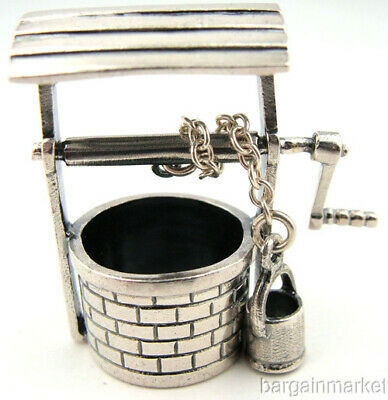 Miniature Wishing Well Sterling Silver w/ Moving Bucket #183