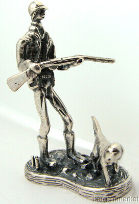 Sterling Silver Miniature Hunter Rifle Pointer Dog Figurine Paper Weight