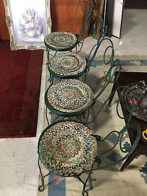 Antique Ice Cream Parlor Chairs With Original Ragging Seat Covers