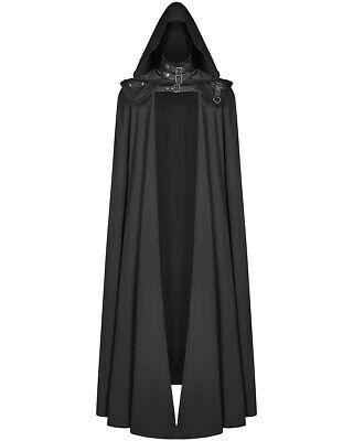 Punk Rave Mens Gothic 2 Piece Hooded Cloak Coat Long Black Dieselpunk Cape LARP