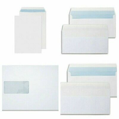 50 x C5 A5 WINDOW WHITE SELF SEAL ENVELOPES 90 gsm grams office stationary