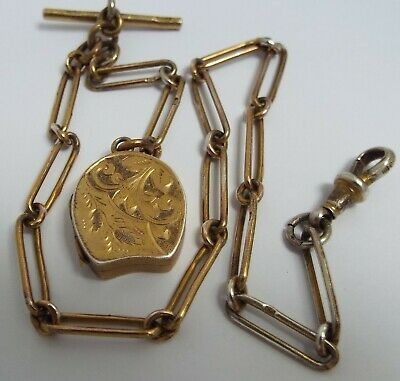 Lovely Rare Ladies Antique 1886 Sterling Silver Gilt Albert Chain & Locket Fob