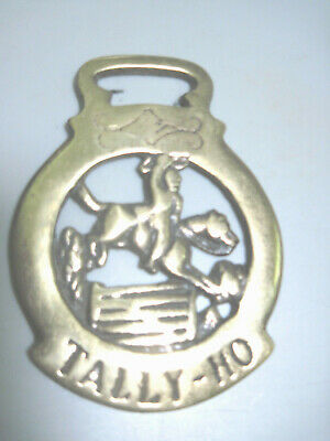 Vintage Horse Bridle Harness Brass Medallion TALLY-HO Horse Jumping