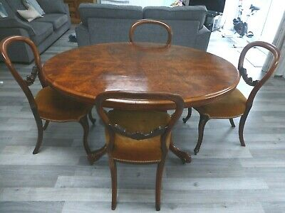 Victorian burr walnut breakfast table and four chairs