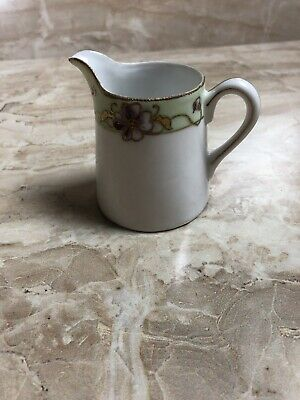 Antique Nippon Hand Painted Flowers Creamer Pitcher Moriage Gold Gilt Vintage