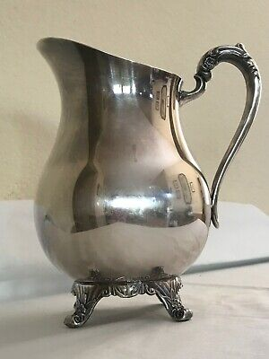 Vintage FB Rogers Silver Co. Plated Footed Lipped Water Pitcher