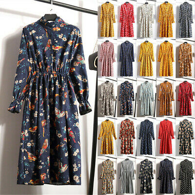 Vintage Womens Floral Stripes Long Sleeve Button Ladies Boho Casual Party Dress