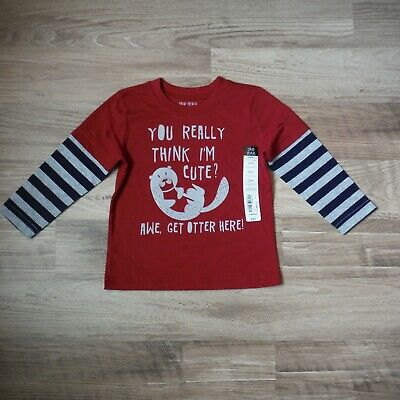 Toddler boys Okie Dokie Maroon Otter Tee shirt size 12-18 months Long sleeve new