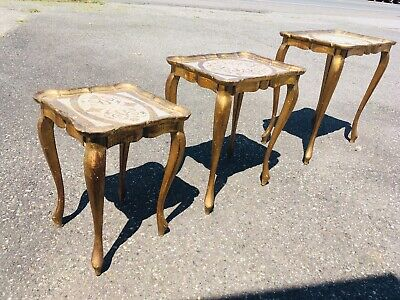Antique Vintage Italian Nesting Tables Victorian Gilded French Carved Regency