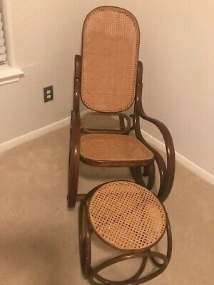 Vintage Bentwood Thonet Style Rocking Chair with Footstool