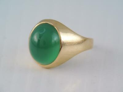Vintage Mid Century Swedish 18K Solid Gold Green Chalcedony Stone Ring 1956