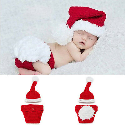 Newborn Christmas Baby Crochet Knit Costume Photography Photo Props Clothes AU