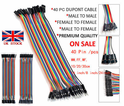 40pcs Breadboard Dupont Jump Wire M-F M-M F-F Jumper Cable Lead For Arduino UK