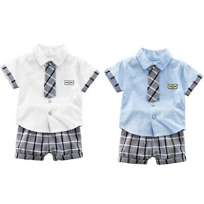 Summer Baby Boys Short Sleeve Plaid Tops Shirts with Fake Tie+Short Outfits Sets