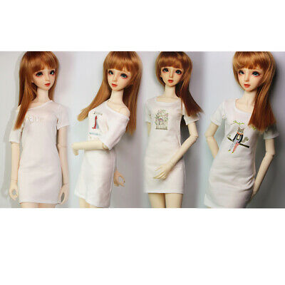 Short Sleeve T-shirt Dress for 1/3 BJD SD DZ DOD LUTS Dollfie Girl Dolls 4 Types