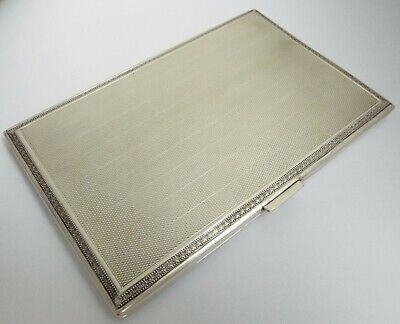 BEAUTIFUL LARGE HEAVY 175g ENGLISH ANTIQUE 1928 STERLING SILVER CIGARETTE CASE