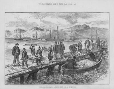 1875 Antique Print - ICELAND Reykjavik Landing Dried Cod Boats Fishermen  ( 45)