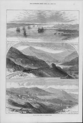 1875 Antique Print - SPAIN Rio Tinto Mines Pier Railway Port Huelva Village(148)