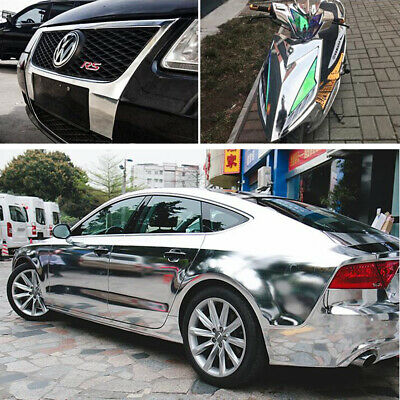 Car Vinyl Wrap Chrome Mirror Silver Self Adhesive DIY Decal Sticker Air Release