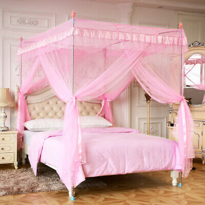 Pink Princess  4 Corner Post Bed Canopy Curtain Mosquito Net Twin Full Queen