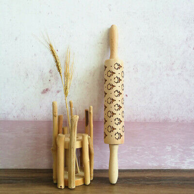 Wooden Rolling pin Embossing Engraved Dough Roller for Cookies Flower Pattern ZE