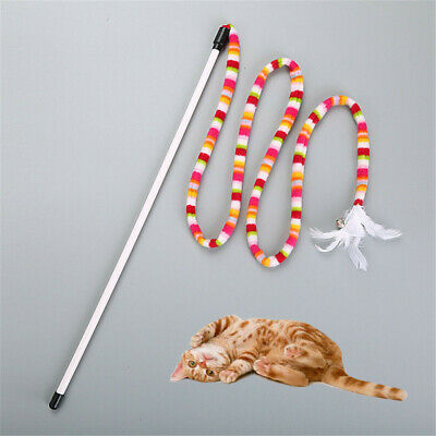 Kitten Cat Pet Toy Chaser Stick Rainbow Streamer Interactive Play Fun Toys Stick