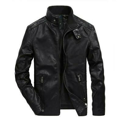 Men Leather jacket Motorcycle Punk Military Outwear Zip Stand collar Casual Chic