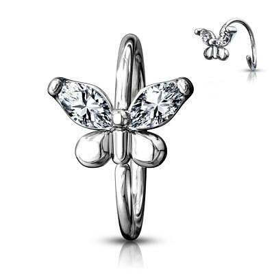316L Surgical Steel Bendable Nose, Cartilage Hoop Rings with CZ Gem Butterfly