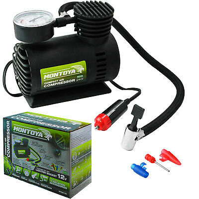 Montoya Car Tyre Air Compressor Pump Bike Cycle Compact 3m Cord 12V Inflator