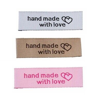 Woven Labels HAND MADE WITH LOVE Sew On Garment Clothing Label Tags 50x15mm