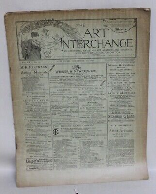ANTIQUE Arts & Crafts Era Magazine THE ART INTERCHANGE December 20, 1890
