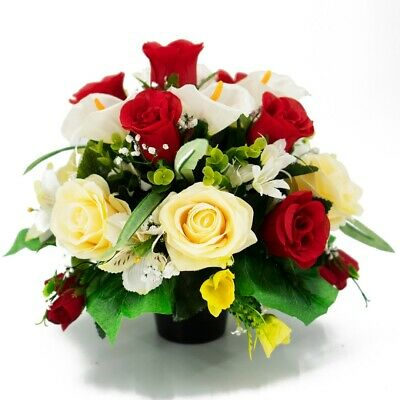 Dave Artificial Flower Graveside Pot Red & Yellow Rose Cemetery Memorial