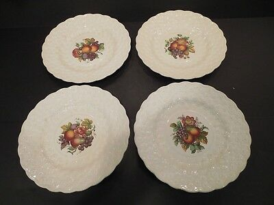 Four Copeland Spode Daisy Embossed Fruit Pattern Dinner Luncheon Plates 9-3/16""