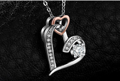 925 Sterling Silver infinity Heart Cubic Zirconia Rose Pendant without chain