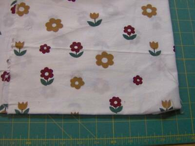 """Cotton remnant - 33"""" x 30"""" - brownish yellow and green florals on creamy white"""