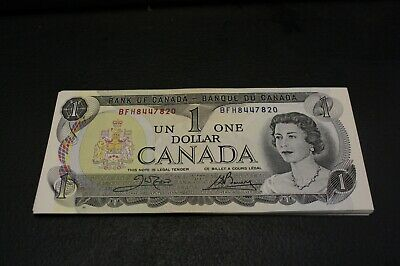 lot of 19 , Canada 1973 $1 Bank note Consecutive BFH Crow Bouey