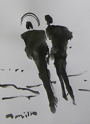 Jose Trujillo - Abstract Expressionism Ink Wash Angel Angelic Figures Art 9X12