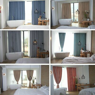 Thermal Blackout Curtains Bedroom Living Room Linen Window Panel/Drapes UK
