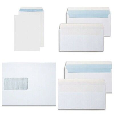 100 X High Quality White Self Seal Envelopes Window C4 A4 office home