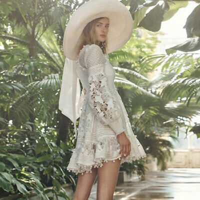 Designer Women Sexy V Neck Hollow Out Beach Puff Sleeve Dress Gown Occident 2019