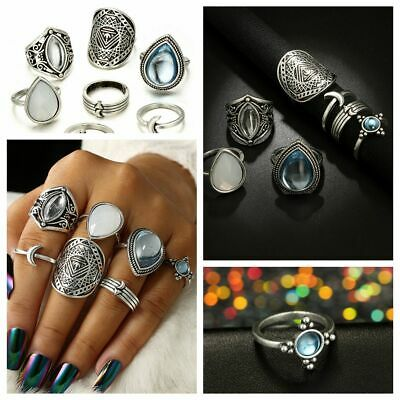 Boho Jewelry Vintage Women Ring Set Silver Plated Knuckle Midi Water Drop Opal