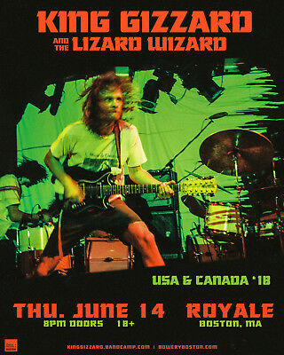KING GIZZARD & THE LIZARD WIZARD 2018 BOSTON,MASS CONCERT TOUR POSTER-Psych Rock
