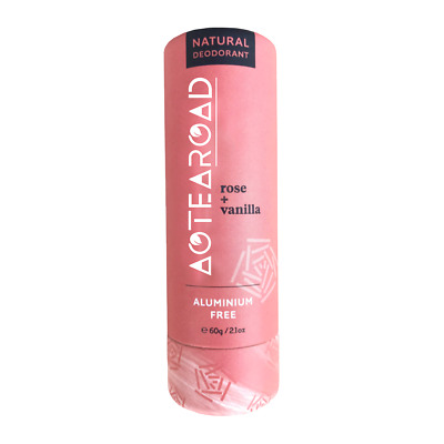 Aotearoad Natural Deodorant Stick Rose + Vanilla in Eco Paper Packaging 60g