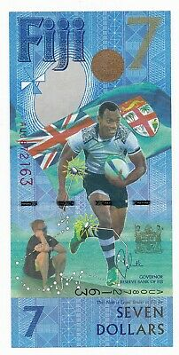 Fiji $7 7 Dollars Rugby Sevens World Cup UNC Note 2016