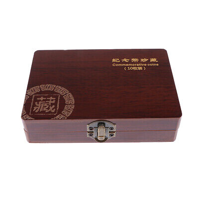 Superb Wooden Coin Box Storage with 10 Coins Holder 27mm Sized Collection