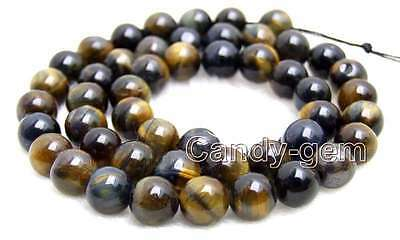 """8mm Blue Round Natural Tiger's-eye Gemstone Beads for Jewelry Making Strands 15"""""""