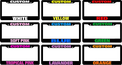 CUSTOM CHROME PLASTIC PERSONALIZED License Plate Frame COLOR FONT CHOICE