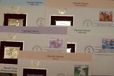 22K Gold Proof Stamp Replica1990 Set of 5 Olympic Games 1st Day Covers w/Address