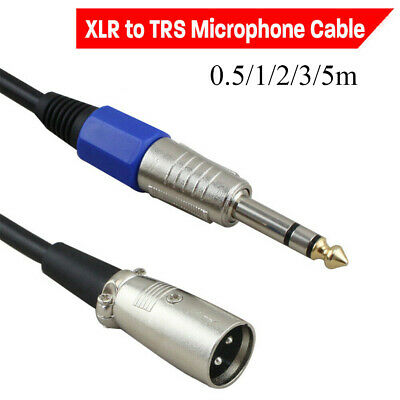 """Balanced Male XLR to TRS 1/4"""" 6.35mm Microphone Stereo Jack Cable Lead Durable"""